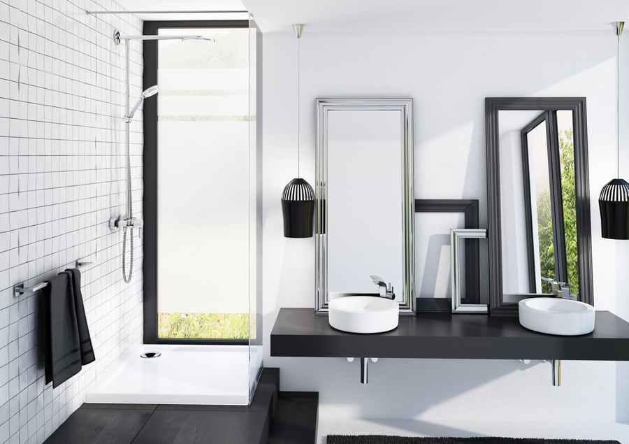 Brodzik Corrina w technologii Stabilsound Plus® w aranżacji łazienki z dwoma umywalkami. Wygoda dla rodziny