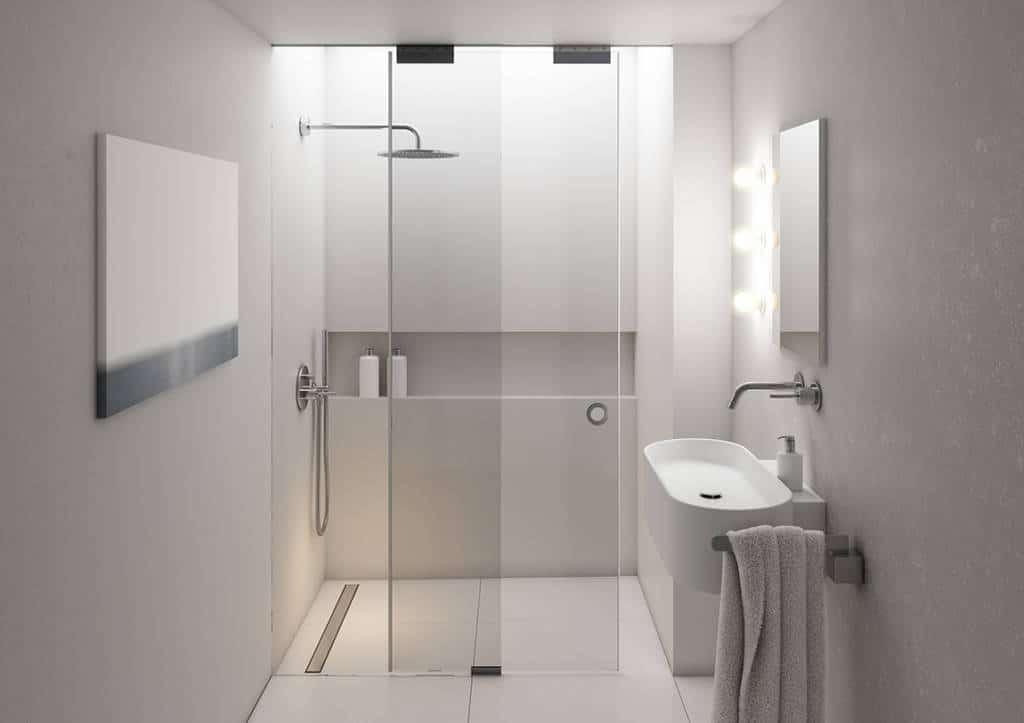 Odpływ odwodnienie liniowe marki Schedpol w aranżacji z kabiną prysznicową walk-in