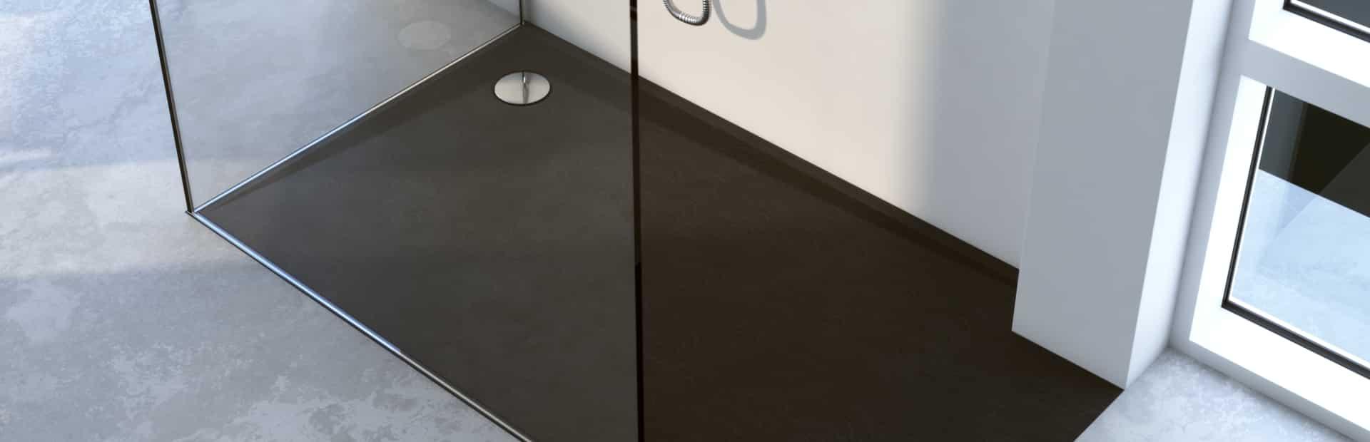 Brodzik Libra Black Stone prostokątny z pocieciem na kolumnę