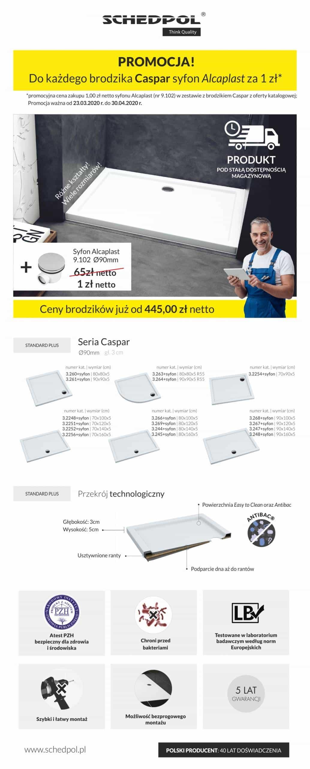Seria Caspar w zestawie z syfonem brodzikowym AlcaPlast 90mm w promocyjnej cenie zakupu!